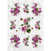 Carta di riso - Violet Flowers