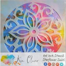 Stencil - Star flower Swirl