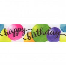 Satin Printed Ribbon -  Birthday